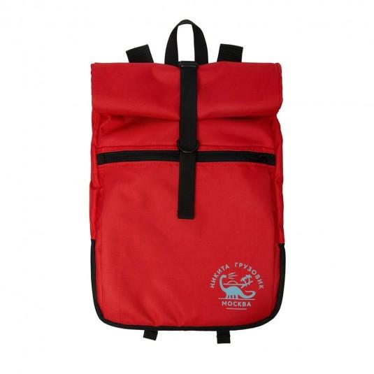 Рюкзак роллтоп Nikita Gruzovik с флоковым принтом красный