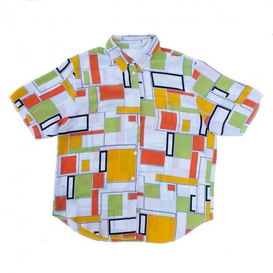 Женская ретро рубашка с прямоугольниками